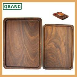 Madera media pantalla rectangular bandeja de servir la comida de la placa de té
