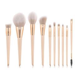 10pcs Pinceaux de maquillage Set Premium Fondation Kabuki Pinceau mélange synthétique Poudre Blush Concealers ombres à paupières composent Kit brosses
