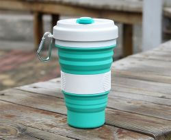 Im Freien bewegliches Silikon-mehrfachverwendbares zusammenklappbares Arbeitsweg-trinkendes Cup-Silikon-faltbares kampierendes Cup mit Kappen