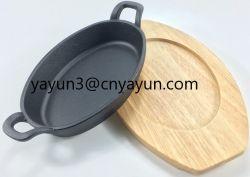 Non-Stick churrascos de Ferro Fundido Incendiário Steak Pan /prato quente com placa de madeira