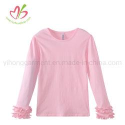 Einzelnes Farben-Freizeit-Abnützung-Baby-Stück-Hemd mit Rüsche-Hülsen