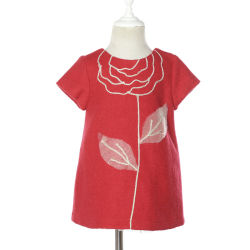 Las niñas de manga corta rojo vestidos de fiesta ropa de lana en invierno