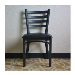 Einfacher Entwurfs-Metallrahmen, der Stuhl-lederne Sitzgaststätte-Stuhl-Strichleiter-Rückseite speist