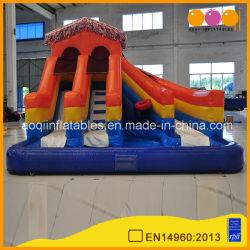 Сад используется ПВХ надувные водные горки с шаровым бассейн (AQ1099-1)