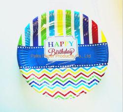 紙皿環境に優しい党版の皿の皿のクリスマスの紙皿7は版9インチの誕生日のペーパー皿のじりじり動かす