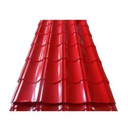 ISO9001 Prepainted Folha do telhado de metal galvanizado Cor de zinco PPGI revestido a folha de material de Telhado de aço corrugado em Gana