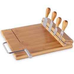 O bambu tábua de queijos com fio integrado e corte em aço inoxidável de 4 Peças faca de queijo