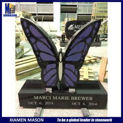 Reino Unido talladas a mano personalizadas de color azul en 3D de granito negro diseño mariposa moderna tumba losa con precios baratos