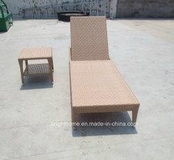 Résistant aux intempéries en rotin de plein air en osier chaise de plage inclinables de pliage en aluminium