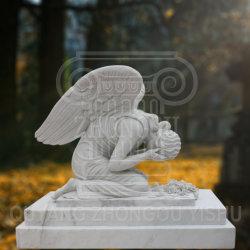 Matériel statue de pierre de marbre Ange Pleureur, Angel Monument de sculpture