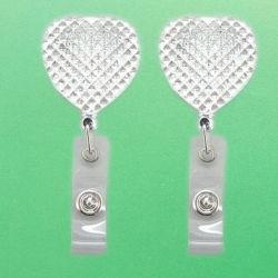 بكرة شارة معدنية ذات شكل قلب مع شعار Diamond