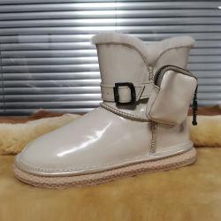 Тенденции моды зима Designer водонепроницаемый женщин обувь с Pocket лодыжки прочного загружается последний стиль дамы обувь
