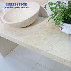 床タイルのための自然で明るいベージュか黄色の石造りの大理石か舗装するか、またはカウンタートップまたはWalltiles/Worktop