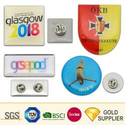 Лучшие продажи дешевой цене Логотип пустые металлические печати никелевое покрытие имя , Тин контакт значки для сотрудников