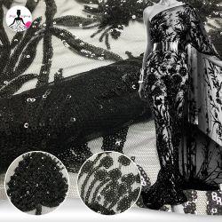 Nouvelle Mode Mesh noir Sequin broderie vêtement formel Tissu de mariage