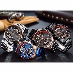 Мини-фокус наручные часы хронограф мужчин кварцевые часы в Китае оптовые часы с ленты из нержавеющей стали