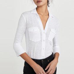 Panneau de contraste Mesdames Slub tricot jersey blanc Shirt vêtements de mode