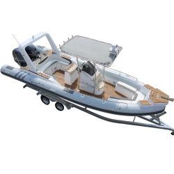 CE 25 pieds de diverses couleurs de 7,6 m en fibre de verre Bateau pneumatique à coque rigide avec cabine avant d'une terrasse de la plongée Stern Orca/Hypalon Tube Bateau de pêche gonflable