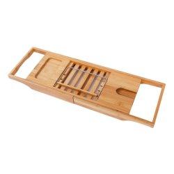 Banheira de bambu Madeira ajustável Paletes Prateleira Caddy Hidromassagem Bandeja Suporte Suporte