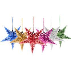 1pcs mignon 4.5 pouce de poudre d'or Star Toppers Arbre de Noël