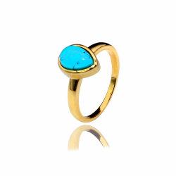 Schellt Sterlingsilber S925 Gold überzogene Ringe des Türkis-18K für Mädchen