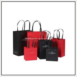 Impreso el logotipo de empresa personalizado remache de lujo en el botón de metal de compras de prendas de vestir bolsa de papel de regalo