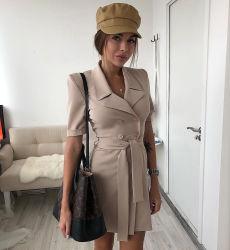 여자 셔츠 고리 간결 소매 단추 벨트 형식 간결 복장