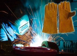Goldener Kuh-aufgeteiltes Leder-Schweißens-Schweißer-Sicherheits-Arbeits-Handschuh mit dem Cer genehmigt