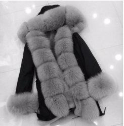 2019 Populares Parka casaco de inverno de mulheres com peles Real destacável Parkas