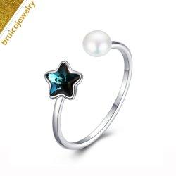 Jóias de Design Estrela grossista jóias Gemstone 925 Anel de prata com Pearl para meninas