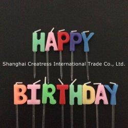 ケーキのための審美的な出現の誕生日おめでとうの小型文字の蝋燭