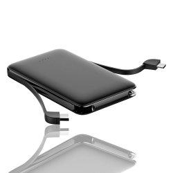 Cargador de móvil Banco de potencia de 5000mAh construido en el cable de doble cargador portátil de marca de logotipo personalizado