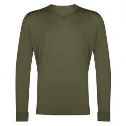 Custom con cuello en V suéter de lana merino suéter de invierno los hombres tejidos