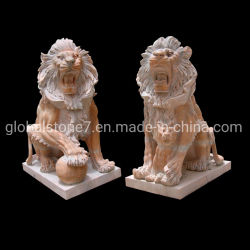 Statue de marbre personnalisé Animal sculpture en pierre de taille de la vie Lion (GSS-270)