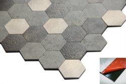 組合せカラー皮および棒の金属の六角形PVCモザイク・タイル