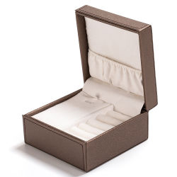 ハイエンドPUの革ビロードのギフト宝石類のリングのネックレスの装飾の腕時計のための革のような収納箱を押す包装ボックス銀