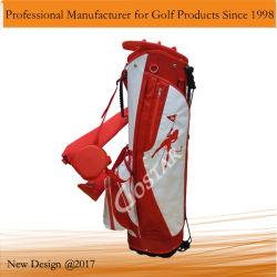 Blanc et le sac de golf en nylon rouge du statif