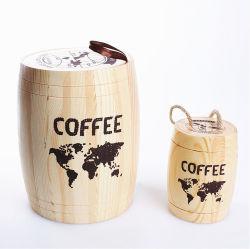 Bean café en bois massif Custom-Made Baril baril pour le stockage du bois naturel de bonbons