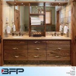 Salle de bains Cabinet Woodgrain Undermount double lavabo avec étagère