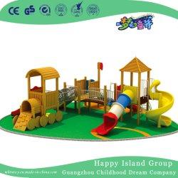 Деревянные поезд игровая площадка с пластиковой слайд для детей детская игровая площадка (HF-17301)