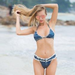 Bikini Summer Nouveau élégant vêtements de plage d'usure de natation de Jeans Womens sexy maillot de bain Maillot de bain