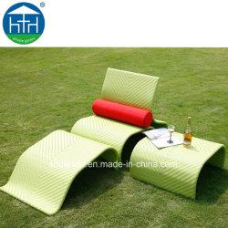 Outdoor PE Meubles en rotin Chaise longue avec pouf et table