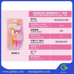 Lady's afeitadora Manual de Hojas de Triple 2pcs manual del conjunto de cuchilla para dama