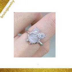 숙녀를 위한 동물 925 순은 보석 올빼미 보석 반지를 가진 단 하나 돌 디자인 보석 반지