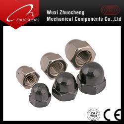 Grado de acero al carbono 4 6 8 10 12 de níquel negro techo hexagonal chapado en la tuerca de sombrerete DIN1587