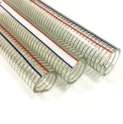 PVC transparente flexible Primavera Espiral de alambre de acero reforzado de succión de combustible de los conductos de descarga de agua de la manguera del tubo