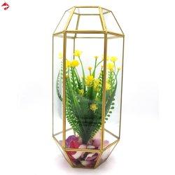 /Handleの卸売のハングを用いる高くか大きい金ガラス蝋燭ホールダー