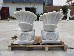 Décoration de jardin de sculptures en marbre du semoir de Shell de pierre Pot de fleurs