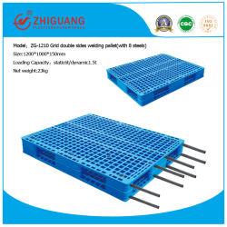 Pallet 1200*1000*150mm van de Producten van het pakhuis Dienblad van de Kanten van het Net het Dubbele Op zwaar werk berekende Plastic voor 1.5t het Rekken van de Plank met Staal 8 (zg-1210 8 staal)
