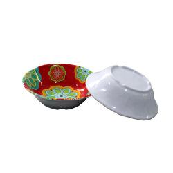 花の形のサラダボール完全なプリントメラミンはボール7インチボーリングをする